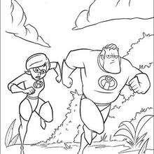 Desenho do Sr. Incrível e da Mulher-Elástica correndo para colorir