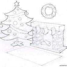 Desenho de uma chaminé e uma árvore de Natal para colorir