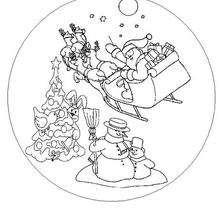 Papai Noel em seu trenó puxado por suas renas para colorir