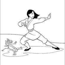 Mulan e Mushu treinando