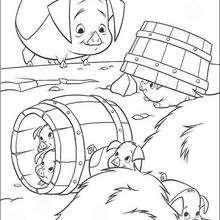 Os porquinhos na fazenda, para colorir