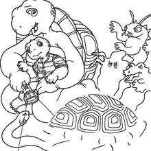 Desenho da tartaruga Harriet com monstros para colorir