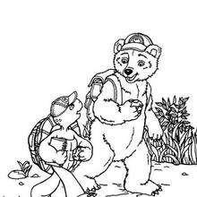 Desenho do Franklin com seu amigo Urso para colorir