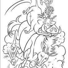 Pumba a Timon montando um cavalo selvagem