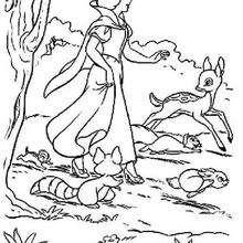 A Branca de Neve caminhando com os animais
