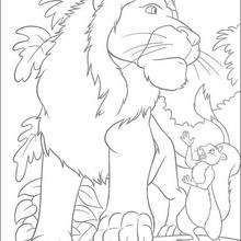 Sansão o leão e o esquilo para colorir GRATIS
