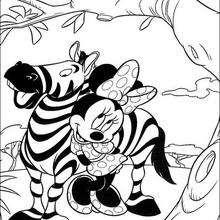 Minnie com a zebra