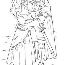 Esmeralda com o Capitão Febo para colorir