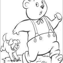 O urso Rechonchudo e Turbulento o cachorro, para colorir
