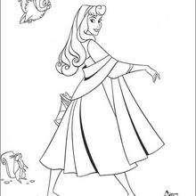 A princesa Aurora com os animais