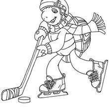 Desenho do Franklin jogando hóquei no gelo para colorir