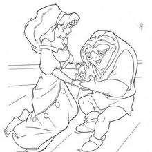 Esmeralda lendo a mão de Quasímodo, para colorir