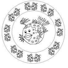 Desenho de um Mandala com peixes para colorir