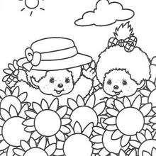 amizade, Para colorir : Monchhichi e os girassóis