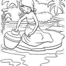 A menina lavando o vaso, para colorir