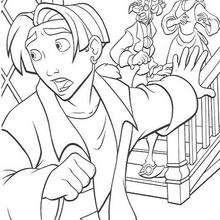 A estalagem sendo invadida pelos piratas, para colorir