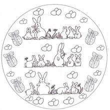 Desenho de um Mandala com coelhinhos da páscoa para colorir