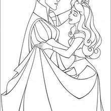 A princesa Aurora e o príncipe Felipe dançando valsa