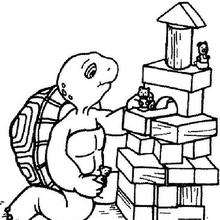 Desenho da tartaruga Harriet com seus brinquedos para colorir