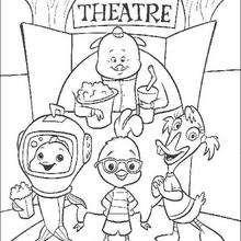 O Galinho Chicken Little e sua turma no teatro