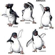 O pinguim e seus amigos dançando
