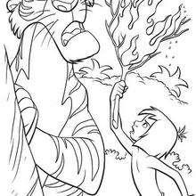 Mogli brigando com Shere Khan o tigre ameaçador