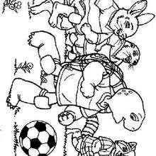 Desenho do Franklin jogando futebol para colorir