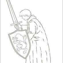 Pedro Pevensie com uma espada