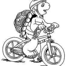 Desenho do Franklin com sua bicicleta para colorir