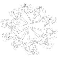 Desenho de DUETO FAZENDO SEU EXERCICIO EM NADO SINCRONIZADO para colorir
