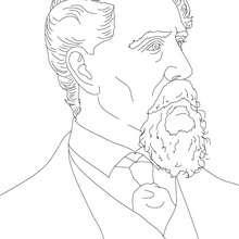 Desenho da escritor CHARLES DICKENS para pintar
