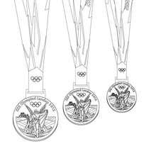 Desenho da medalhas olímpicas de Londres para colorir