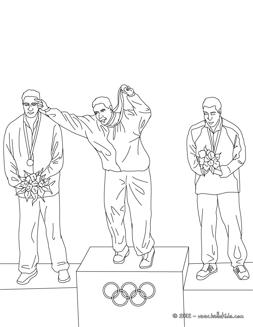 Desenho de ATLETAS recebem medalhas para colorir