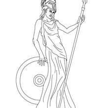 Desenho da ATENA deusa grega da libertade para colorir