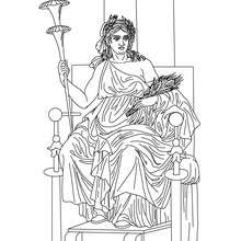 Desenho da DEMETER deusa grega da agricultura para colorir