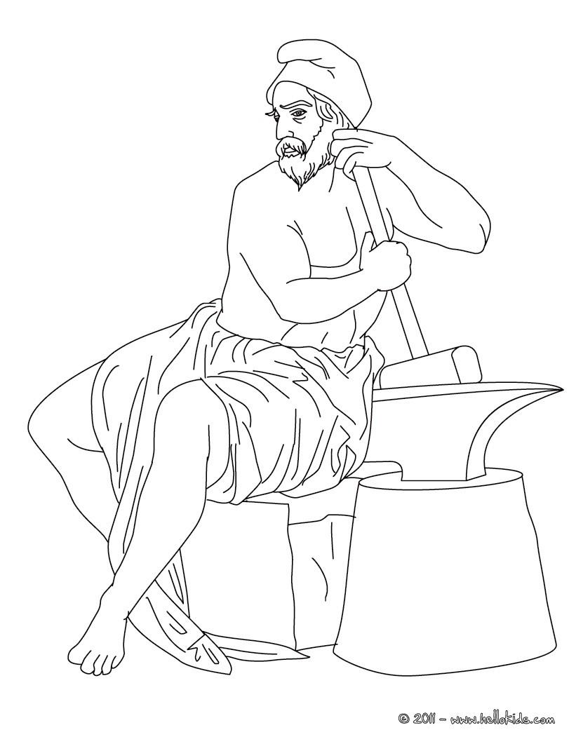 Desenho de HEFESTO o deus do Olimpo para colorir e pintar