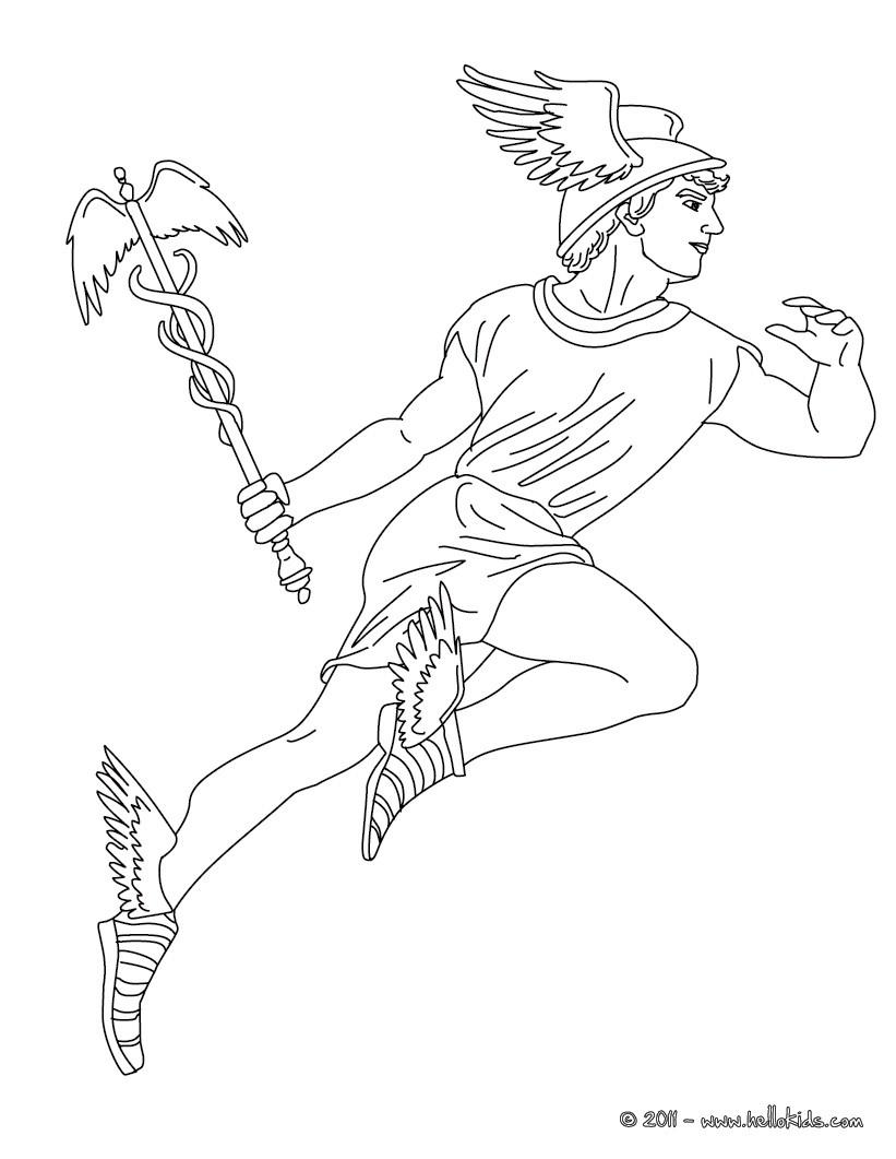 Desenho de HERMES o mensageiro dos deuses gregos para colorir