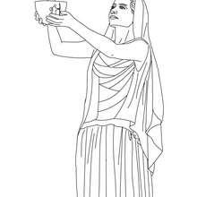 Desenho da HESTIA deusa grega dos laços familiares para colorir