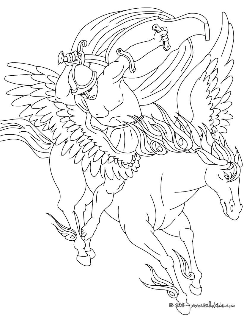 Desenho do Mito do PEGASO y Belerofonte para colorir