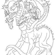 Desenho da HIDRA DE LERNA para colorir corpo de dragão e muitas cabeças de serpente