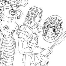 Desenho do Mito de Perseu e Medusa para colorir