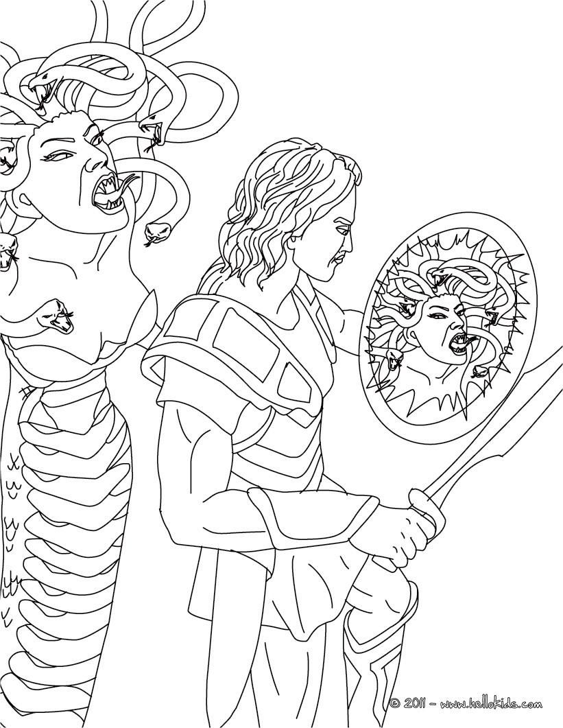 Desenhos Para Colorir De Desenho Do Mito De Perseu E Medusa Para