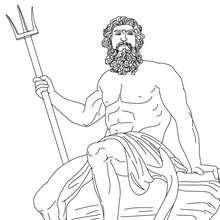 Desenho de POSEIDON deus grego dos mares para colorir