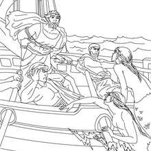 Desenho das aventuras de ULISSES heroi da grecia antiga apra colorir e pintar
