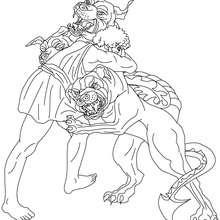 Desenho do mito dos doze trabalhos do de HERCULES para colorir