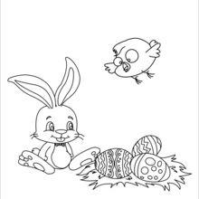 Coelho, pintinho e ninho de Páscoa