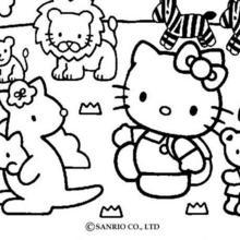 Desenho da Hello Kittycom animais para colorir