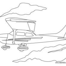 Desenho de um pequeno Avião para colorir