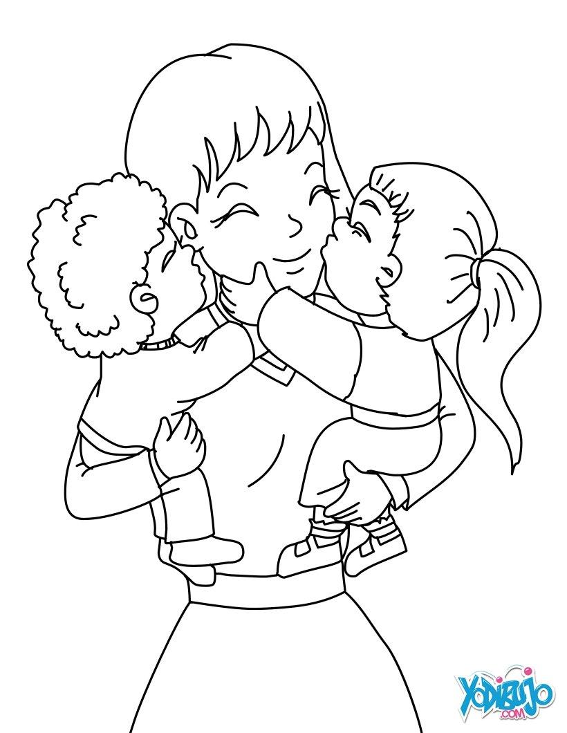 Desenhos para colorir de m e e seus filhos - Dessin pour maman ...