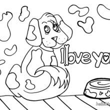 Desenho de um Cachorro apaixonado para colorir